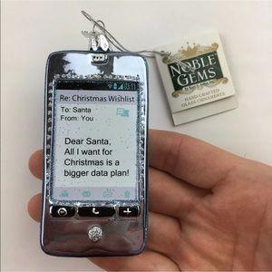 Kurt Adler Cell Phone Ornament Glitter Text Santa
